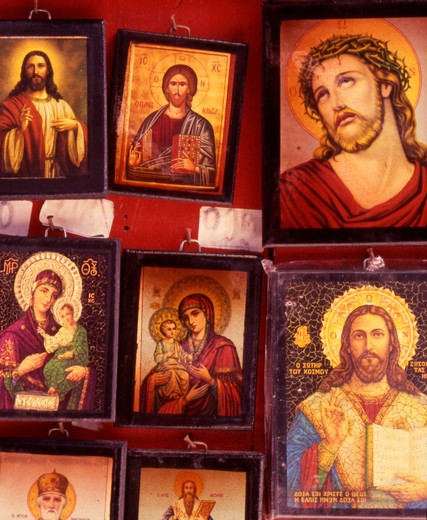 Greece. Copies of Religious Icons for sale. : Stock Photo