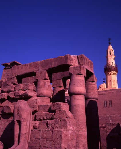Stock Photo: 4286-56698 Egypt. Temple of Luxor and Mosque of Abu el Haggag.