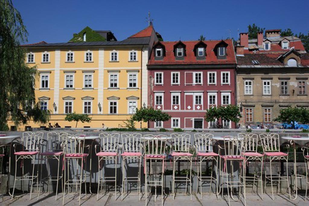 Stock Photo: 4286-57103 Slovenia. Ljubljana Old Town. Typical Riverside Buildings
