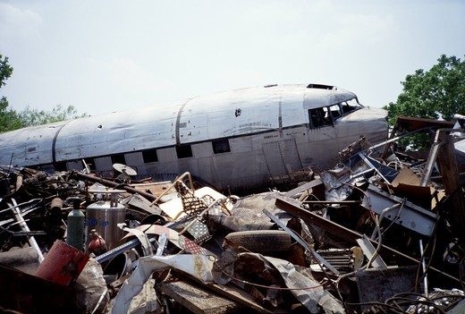 Junkyard containing aircraft parts near St. Augustine, FL.  : Stock Photo
