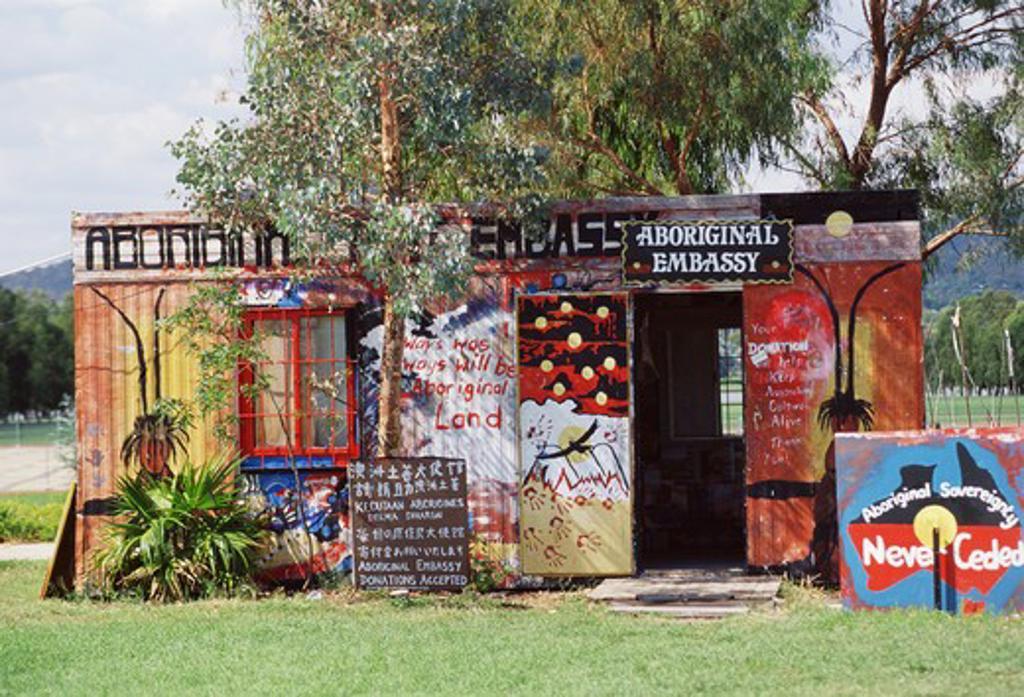 Stock Photo: 4286-57288 Aboriginal embassy building in Canberra, Australia.