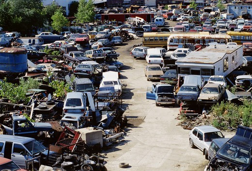 Stock Photo: 4286-57297 Aerial view of a car junkyard in the U.S..