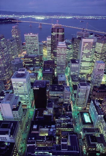 Stock Photo: 4286-57828 Aerial view of the San Francisco Financial District in California taken at night.
