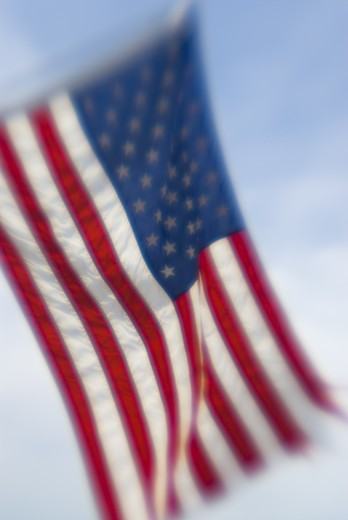 Soft focus lens captures United States flag on Fourth of July holiday, Otter Tail, Minnesotta : Stock Photo