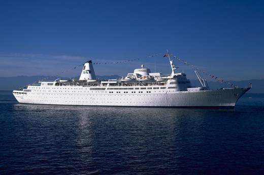 Cruise ship the Sea Princess in Victoria Harbor, British Columbia. : Stock Photo