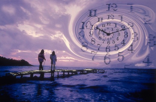 Couple gaze into the depths of time. : Stock Photo