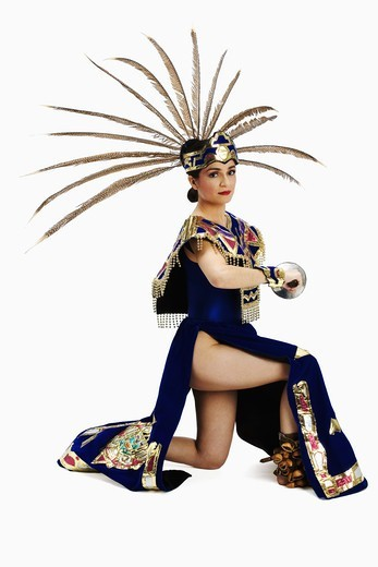 Stock Photo: 4286-59319 Portrait of an Aztec dancer performing