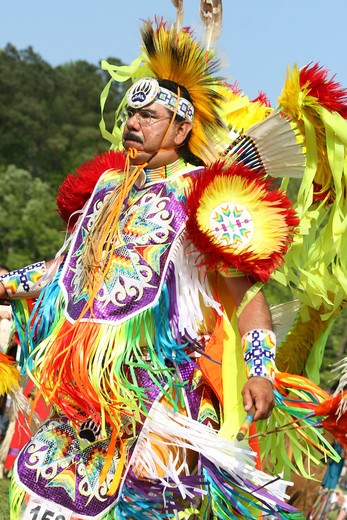 Stock Photo: 4286-60239 A Native American man dances in full traditional regalia at the 8th Annual Red Wing PowWow in Virginia Beach, Virginia. NOT MODEL RELEASED. EDITORIAL USE ONLY.
