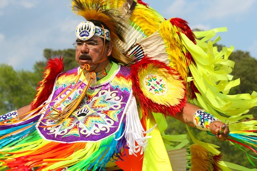 Stock Photo: 4286-60240 A Native American man dances in full traditional regalia at the 8th Annual Red Wing PowWow in Virginia Beach, Virginia. NOT MODEL RELEASED. EDITORIAL USE ONLY.