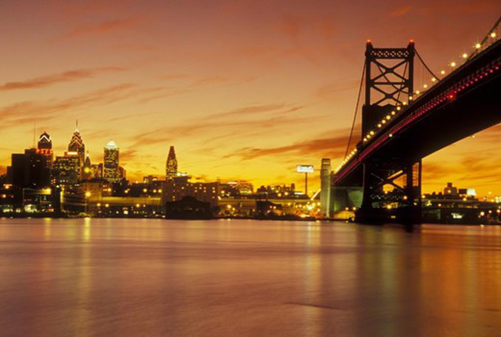 Philadelphia, PA, Pennsylvania, Ben Franklin Bridge, Delaware River, evening, skyline : Stock Photo