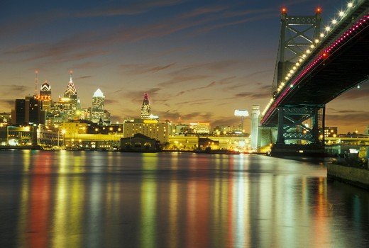 Stock Photo: 4286-60377 Pennsylvania, PA, Philadelphia, Ben Franklin Bridge, Delaware River, evening, skyline