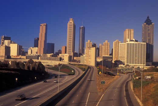 Atlanta, GA, Georgia, Downtown skyline, Freedom Parkway, expressway, road : Stock Photo