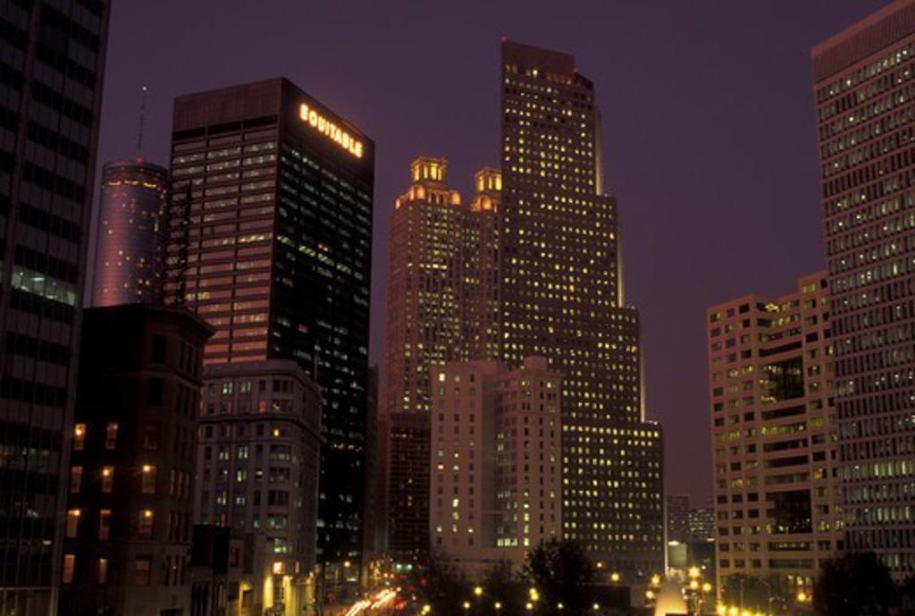 Stock Photo: 4286-60381 Atlanta, GA, Georgia, Downtown, skyline, high-rise buildings, evening