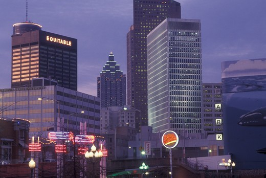 Stock Photo: 4286-60448 Atlanta, GA, Georgia, Underground Atlanta,  downtown skyline, evening