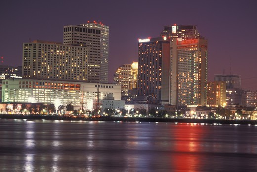 Stock Photo: 4286-60459 New Orleans, LA, Louisiana, Mississippi River, skyline, evening