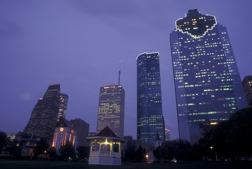 Stock Photo: 4286-60479 Houston, TX, Texas, downtown, Sam Houston Park, evening