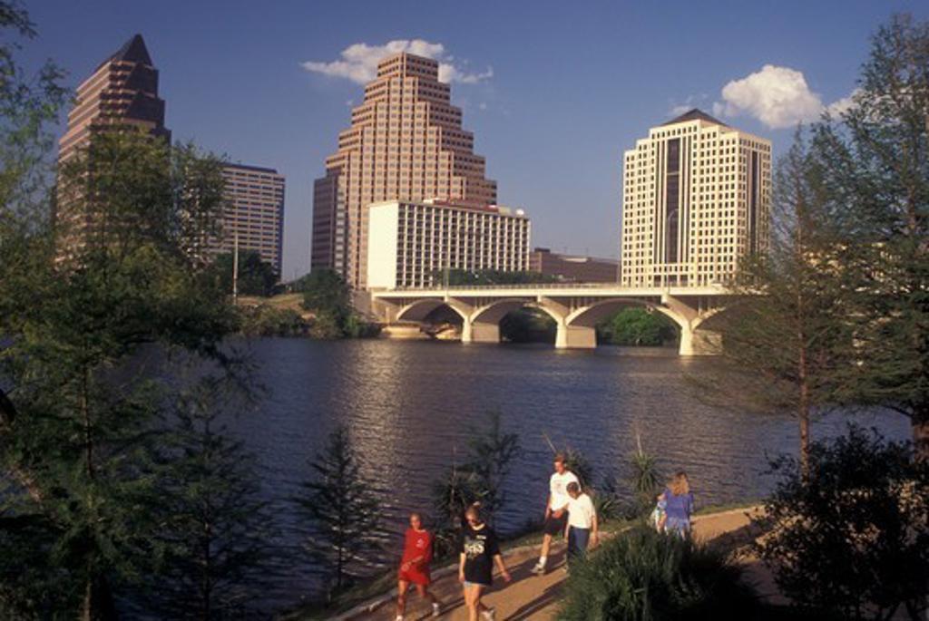 Austin, TX, Texas, Colorado River, downtown skyline, riverfront park : Stock Photo