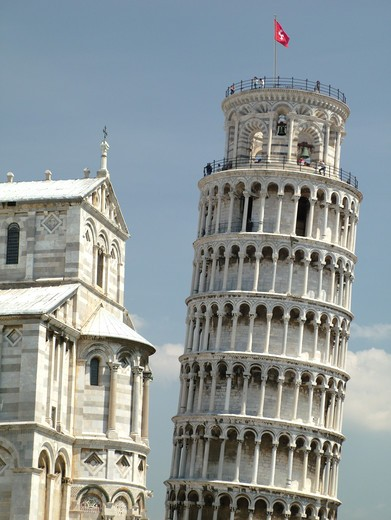 Pisa, Tuscany, Italy, Toscana, Europe, Leaning Tower of Pisa (Torre Pendente) and the Cathedral in Campo dei Miracoli (Field of Miracles) in the city of Pisa. : Stock Photo
