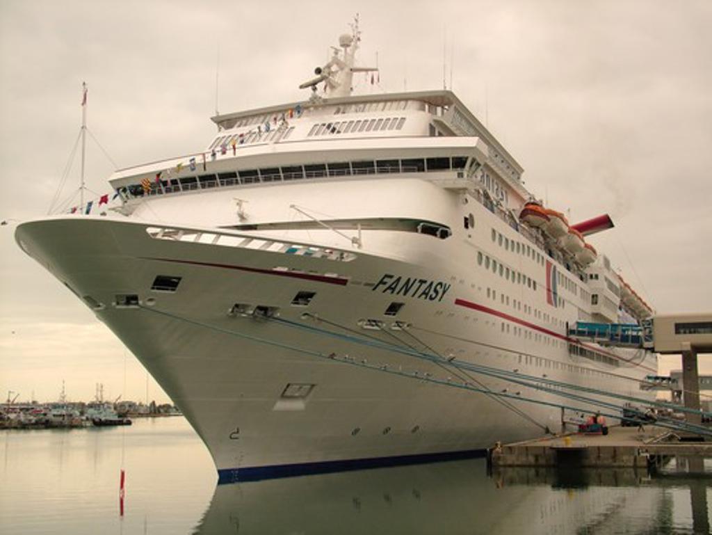 Port Canaveral, FL, Florida, Disney Cruise Ship Fantasy docked at the port : Stock Photo