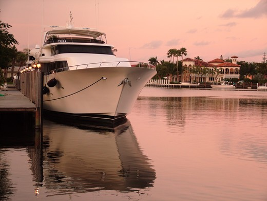 Stock Photo: 4286-60653 Fort Lauderdale, FL, Florida, Intracoastal Waterway, sunset