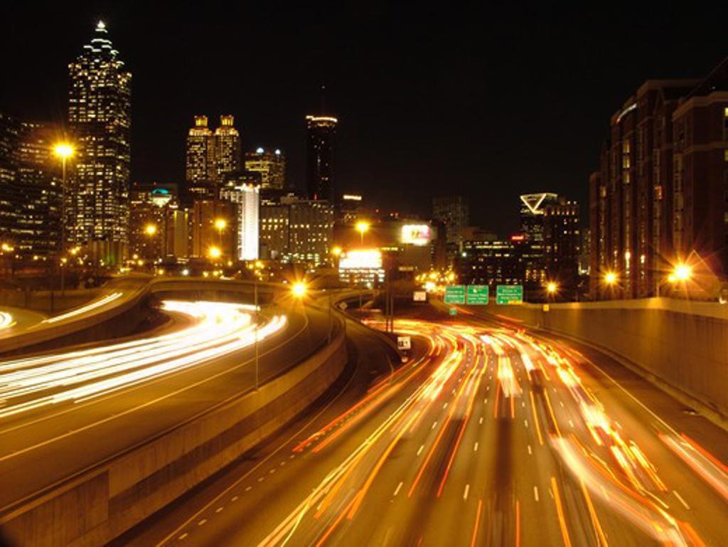 Stock Photo: 4286-60676 Atlanta, GA, Georgia, Downtown Connector, I-85, I-75, interstate, expressway, road, evening