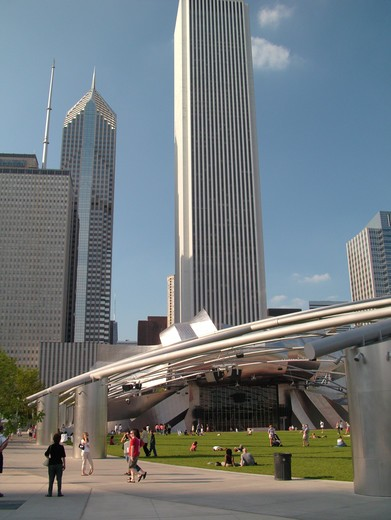 Stock Photo: 4286-60724 Chicago, IL, Illinois, Windy City, Downtown, skyline, Millennium Park, Jay Pritzker Pavilion, designed by Frank Gehry, Great Lawn
