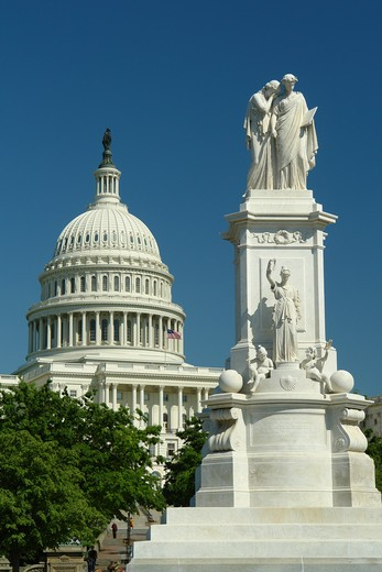 Stock Photo: 4286-60750 Washington DC, D.C., District of Columbia, U.S. Capitol Building, Peace Monument, Capitol Hill, Nation's Capital