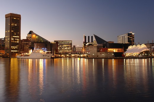 Baltimore, MD, Maryland, Chesapeake Bay, Downtown Skyline, Inner Harbor, evening : Stock Photo