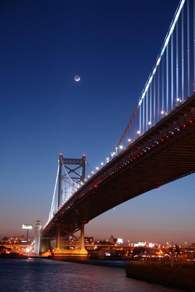 Stock Photo: 4286-60772 Philadelphia, PA, Pennsylvania, Delaware River, Benjamin Franklin Bridge, Downtown Skyline, evening, moonrise