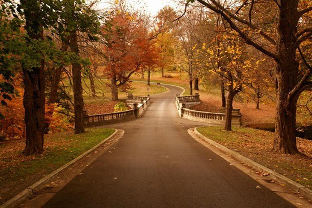 Stock Photo: 4286-60796 Hyde Park/Poughkeepsie, NY, New York, Vanderbilt Mansion National Historic Site, white bridge over Elbow Creek