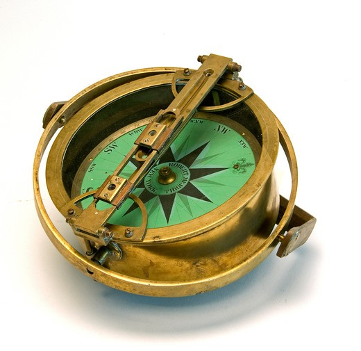 Close-up of a an antique compass : Stock Photo