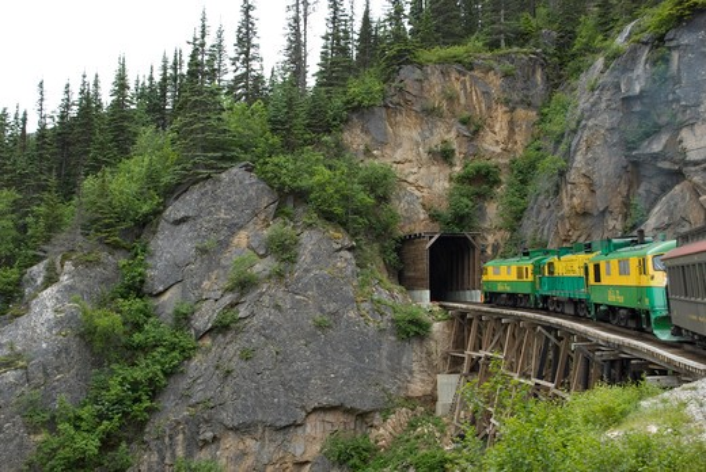 Stock Photo: 4286-61075 Tunnel Mountain, White Pass & Yukon Route Railway tour, Skagway, Alaska