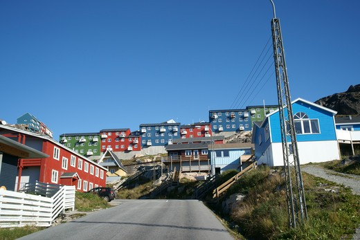 residential district, Qaqortoq, Greenland (Danish name: Julianehab), largest town in South Greenland : Stock Photo