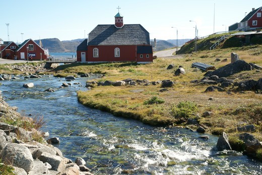 Stock Photo: 4286-61116 river with Church of Our Savior in background, Qaqortoq, Greenland (Danish name: Julianehab), largest town in South Greenland