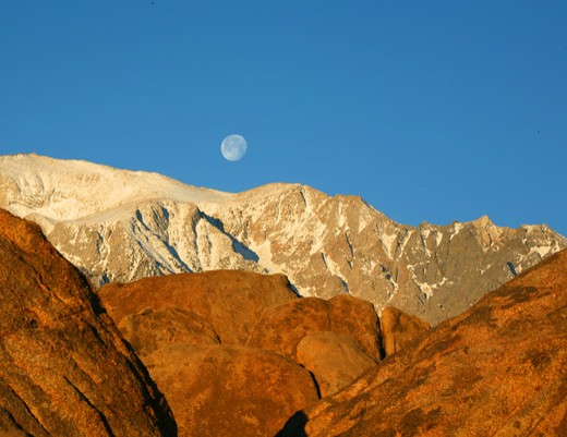 Stock Photo: 4286-61263 Alabama Hills with Moon over Sierra