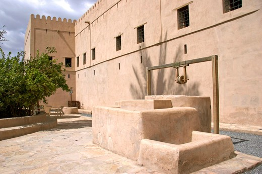 Oman inner courtyard in the fort of Nizwa, sultanate Oman Nizwa city fort : Stock Photo