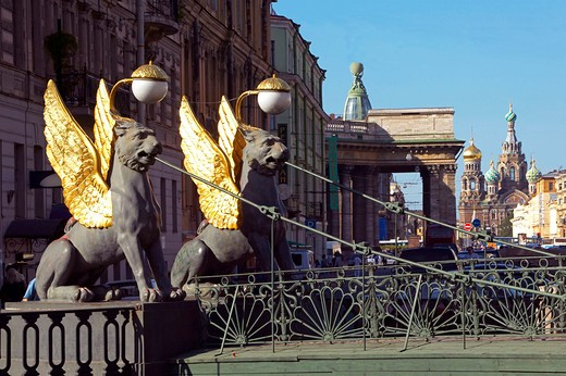 Sankt Petersburg, Banks Bridge with winged Lions Saint Petersburg Russia : Stock Photo