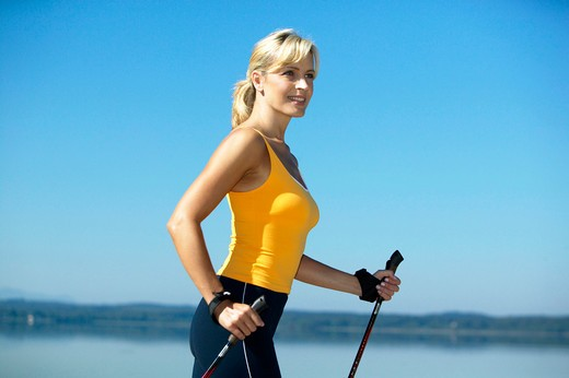 nordicwalking woman : Stock Photo