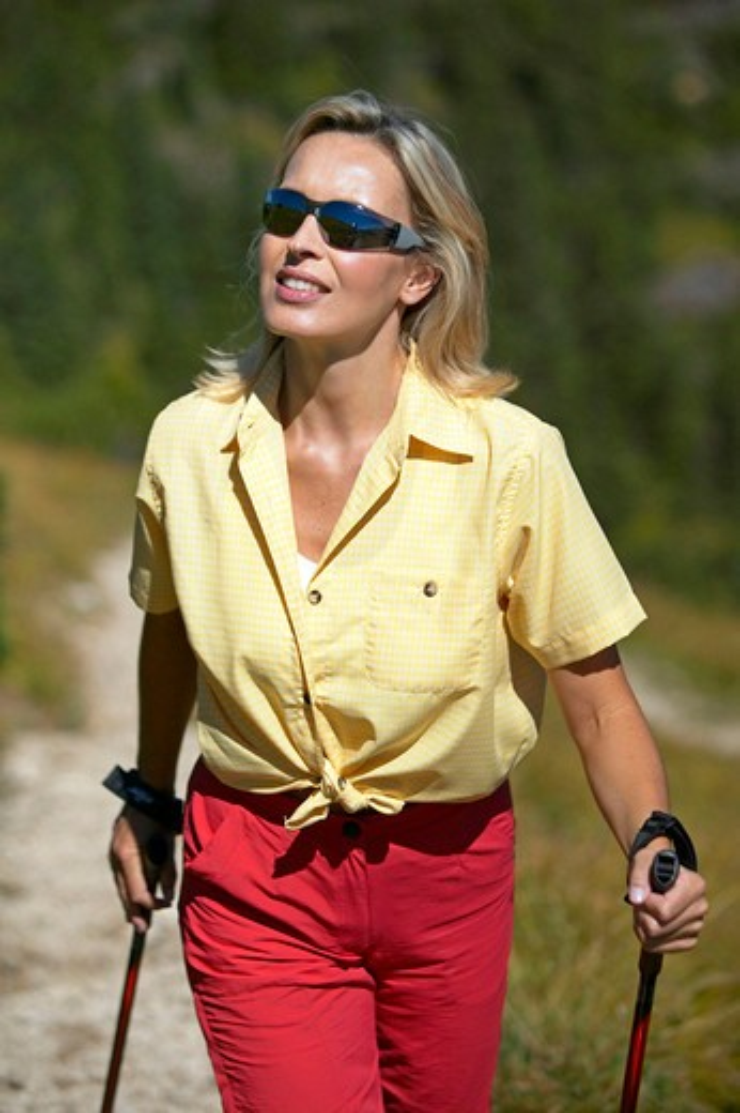 nordicwalking woman : Stock Photo