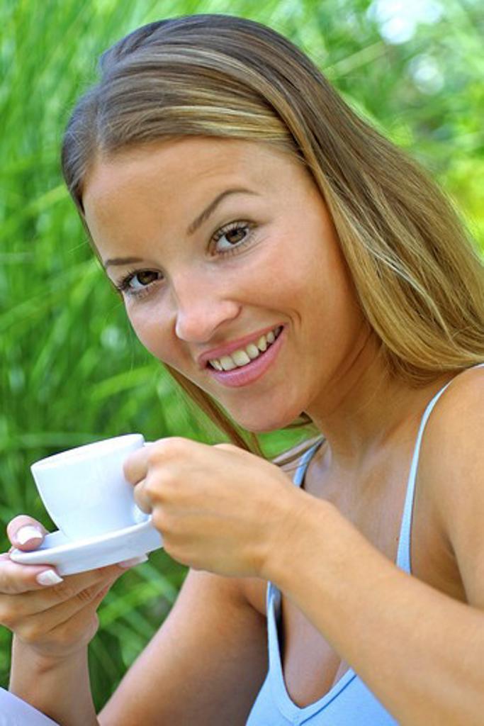 woman drinking coffee : Stock Photo