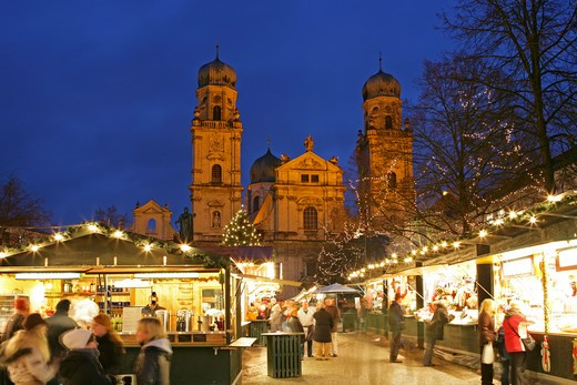 christmas market in Passau Germany : Stock Photo