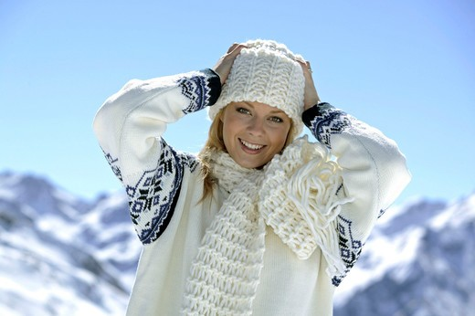 Woman in winter clothing outdoors : Stock Photo