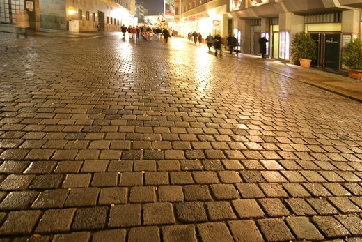 Street, cobblestones, Wet : Stock Photo