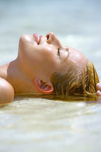 beauty blond woman relax at tropical beach in  Krabi : Stock Photo