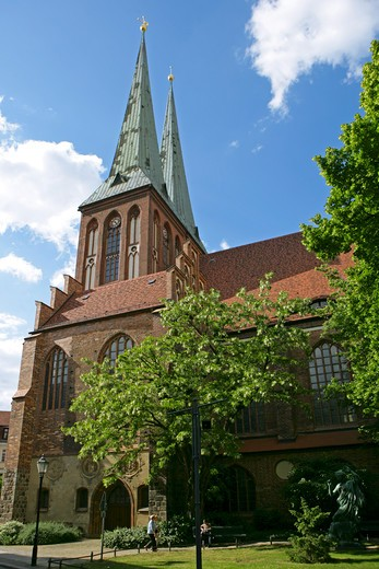 Germany, Berlin, Nikolaiviertel, Nikolaikirche : Stock Photo