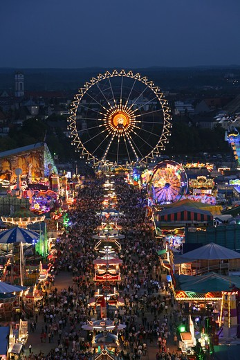 Stock Photo: 4286-68206 Public Festival Oktoberfest in the evening Munich Bavaria Germany