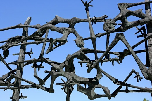 Sculpture depicting the twisted bodies of concentration camp victims remembering Dachau Concentration Camp, Munich, Germany : Stock Photo