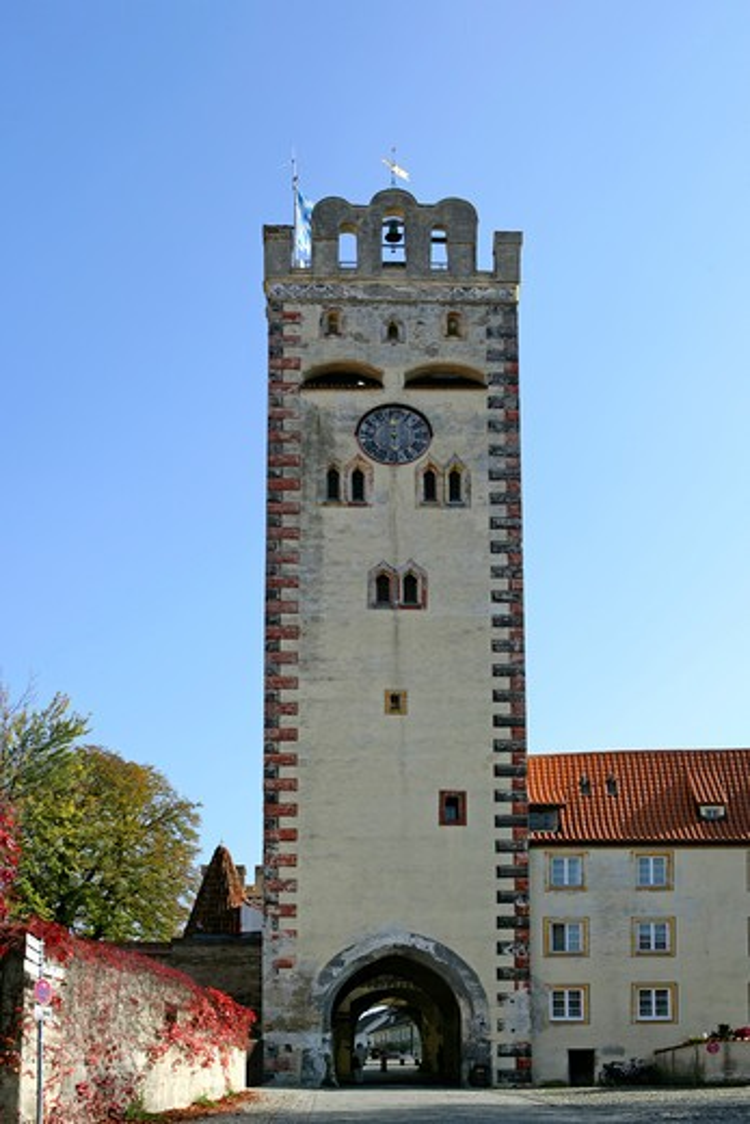 Germany Bavaria Landsberg Bayertor gate town expansion in 15th century AD : Stock Photo