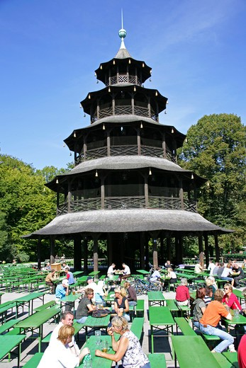 Stock Photo: 4286-68743 Germany Bavaria Munich people sitting at the Chinese Tower beer garden in the Englischer Garten