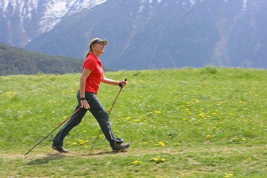Stock Photo: 4286-68802 Blonde mature woman nordic walking